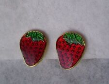 Vintage Gold Plate and Enamel Clip Earrings- Strawberry Fruit shape