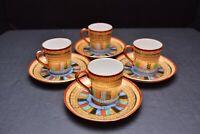 Set 4 VTG Kutani Japanese 1000 Thousand Faces Demitasse Tea Cup Saucer porcelain