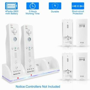 Rechargeable 2/4 Charger +2/4Pack Batteries for Nintendo Wii Remote Controller