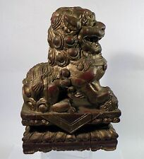"shlf CHINESE WOOD CARVED LACQUER FOO DOG FU DOG STATUE, LARGE 10"" HIGH"