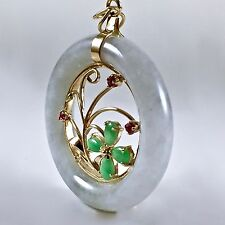 "Vtg Flower Chinese Jade Necklace Pendant 14k Yellow Gold Emerald Ruby 1 7/8"" L"