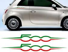 2 X LOGOS TRICOLORE ITALIA ITALIE FIAT 500 ABARTH 55cm AUTOCOLLANT STICKER FA136
