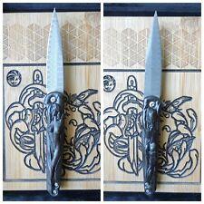 🔪 Couteau de poche sculpté👉  unique !!🌹femme nu🌳 bois d'ébène🧰Damas VG10