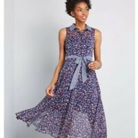 LIZA LUXE Modcloth Blue FLORAL Mesh DRESS - Size LARGE - NWT
