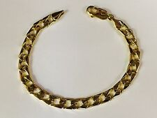 """10kt Solid Yellow Gold handmade Curb Link mens Chain/Bracelet 8.5"""" 20 Grams 8 MM"""