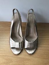 Fendi Gild Leather Ladies Peep Toe Heels Size 40 / 9