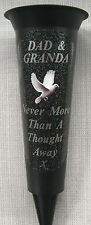 DAD & GRANDA  Memorial Flower Vase White Dove In Loving Memory Grave Spike