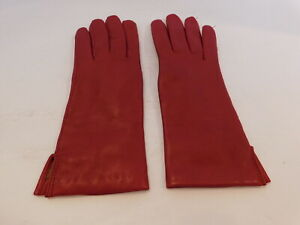 NEW! GATES LADIES RED LAMBSKIN LEATHER DRESS GLOVES WOOL KNIT  LINING SIZE 6.5