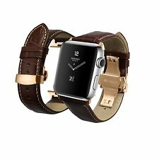 iStrap Alligator Grain Calf Leather Watch Band fit Apple iWatch 42mm Model Rose