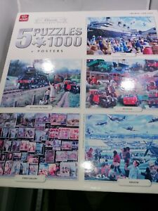 King 5 x 1000 piece Jigsaw Puzzles Multi with posters,