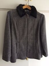 Ladies Coat. M&S. Grey with Black Faux Fur Collar. RRP £45. Size 18. BNWT