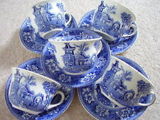 Ceramica BURSLEM ENGLAND Blu e Bianco Porcellana Tè set:5 tazze e piattini 5