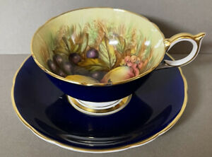 Aynsley Prussian Blue Rich Gilt and Fruits Tea Cup and Saucer