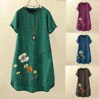 Women Short Sleeve Embroidery Flower Dress  Holiday Beach Summer Sundress LIU9
