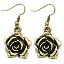 Antique Style Rose Flower Dangle Earrings Brass Bronze Tone Fashion Jewelry a1
