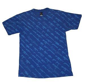 Rogue Status Vtg Mens Blue T Shirt M Gun Show Rob Dyrdek Big All Over Print MTV