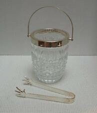 Vintage SMALL PRESSED GLASS ICE BUCKET w CHROME HANDLE & BRAMA SilverPlate TONGS
