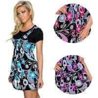Damen T-Shirt mit Kleid Stretch Blumen Träger Rock 36 38 40 42 44 S M L XL