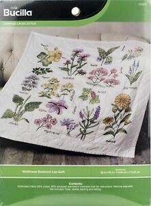 "Bucilla Stamped Cross Stitch Lap Quilt Kit 45""X45""-Wildflower Botanical"