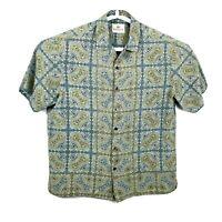 Paradise by Axis Mens Green Aloha Hawaiian Shirt Floral 100% Silk Size M #2505