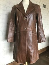 Real Leather Brown Ladies Knee Long Coat Size UK 10