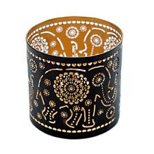Stimmungsvoller Teelichthalter ELEFANT MANDALA Windlicht 10 cm Terrassenlicht