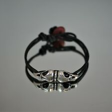 Leather Band Bracelet A-1377 Wicked! Raven Skull Bead
