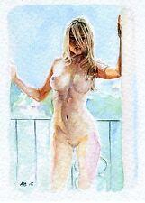 ACEO PRINT TIRAGE SIGNE NU FEMININ AQUARELLE 160180 Watercolor Female Nude Study