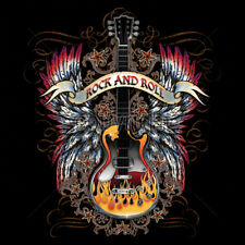 Rock & Roll Music Guitar Angel Wings Flames Stars T-Shirt Tee
