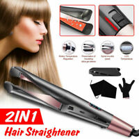 2 In1 Hair Curler Curling Iron Straightener Salon Hair Styling Roller Tools US