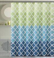 Fancy Fabric Shower Curtain with Geometric Patterns Designs (Geneva Green)