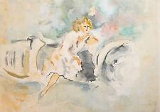 Vintage impressionist watercolor painting woman portrait