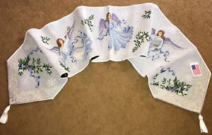 """Dancing Angels Snowflakes Angel 72"""" Christmas Holiday Tapestry Table Runner"""