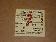 Jethro Tull 1972 Royal Albert Hall Concert Ticket