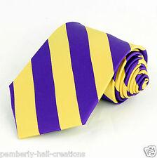 Purple & Gold Striped Mens Necktie Regimental Stripe College Dress Neck Tie New