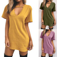 Sexy Women Choker V Neck Long Top T-shirt Ladies Casual Party Mini Dress Blouse