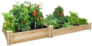 Raised Garden Bed 4 ft. x 8 ft. x 7-10.5 in. Rectangle Wood Cedar Multiple Tiers