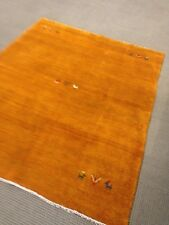 Persian tribal Thick Gabbeh Rug Gold Iran Shiraz hand knotted  5' X 7' Authentic