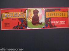 Small Black Zinfandel Wine Grape Crate Label Black Americanna Escalon California
