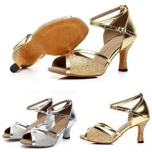 Women's Latin Dance Shoes Adult Square Dance Shoes Golden Color Medium Heel Shoe