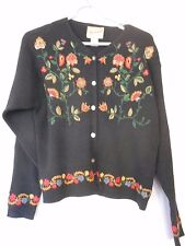 Woolrich Floral Embroidered Black Sweater Cotton blend Size S