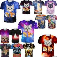 3D Space Galaxy Kitty Cat Playing Print T-Shirt Womens Mens Casual Funny Tee Top