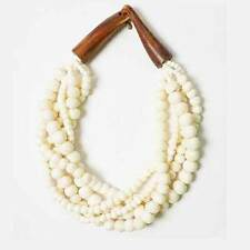 HANDCRAFTED MULTI-STRAND OFF WHITE GENUINE BEAD HORN STATEMENT NECKLACE