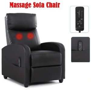 PU Leather Recliner Massage Chair Single Sofa Living Room Adjustable Home Chair
