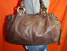 MARSHALL FIELDs Brown Large Leather Shoulder Hobo Tote Satchel Slouch Purse Bag