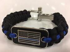 Police Flag Thin Blue Line Cops Paracord Survival Bracelet LEO Respect Honor USA