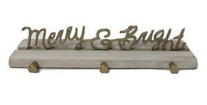 OPALHOUSE Christmas 3 Hook Peg Stocking Holder MERRY & BRIGHT Wood Metal NEW
