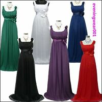 Cherlone Chiffon Long Wedding/Evening Formal Bridesmaid Prom Ball Dress UK 8-26