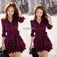 Vintage Women V Neck Plaid Check Waisted Tunic Pleated Skater Mini Belted Dress