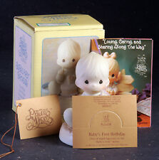 Prescious Moments Figurine Baby's First Birthday, with box, tag, pamphlet 1992